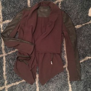 Leather /material drape jacket